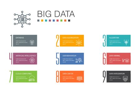 Ilustración de Big data Infographic 10 option line concept. Database, Artificial intelligence, User behavior, Data center icons - Imagen libre de derechos