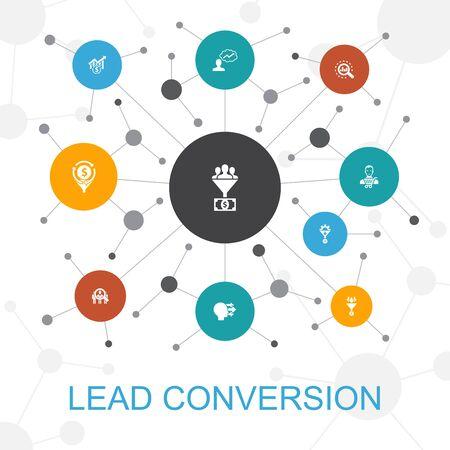 Ilustración de lead conversion trendy web concept with icons. Contains such icons as sales, analysis, prospect - Imagen libre de derechos