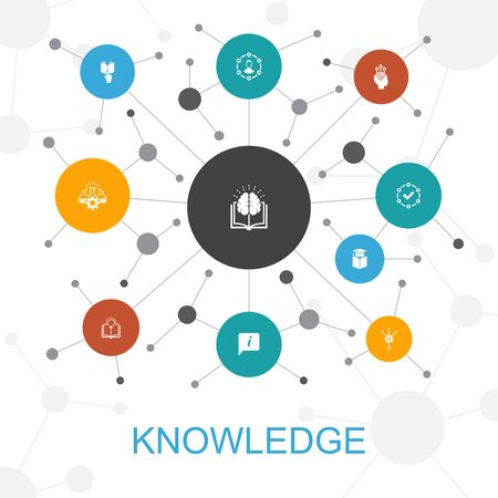 Illustration pour knowledge trendy web concept with icons. Contains such icons as subject, education, information - image libre de droit