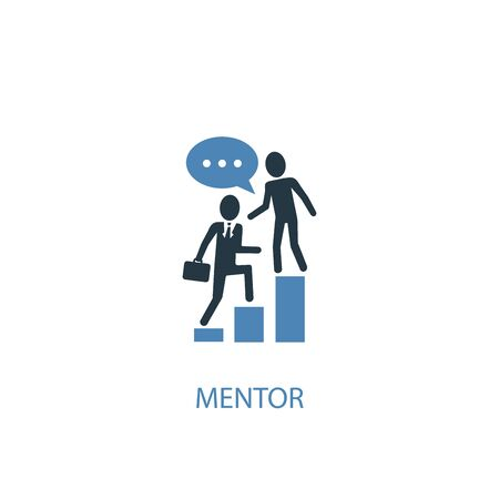 Illustration pour mentor concept 2 colored icon. Simple blue element illustration. mentor concept symbol design. Can be used for web and mobile - image libre de droit