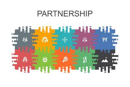 Ilustración de Partnership cartoon template with flat elements. Contains such icons as collaboration, trust, deal - Imagen libre de derechos