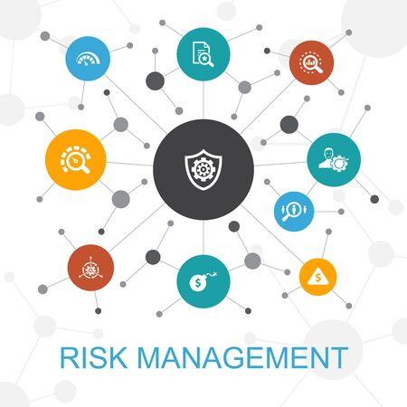 Illustration pour risk management trendy web concept with icons. Contains such icons as control, identify, Level of Risk - image libre de droit