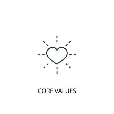 Illustration pour Core values concept line icon. Simple element illustration. Core values concept outline symbol design. Can be used for web and mobile - image libre de droit