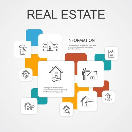 Illustration pour Real Estate Infographic 10 line icons template.Property, Realtor, location, Property for sale icons - image libre de droit