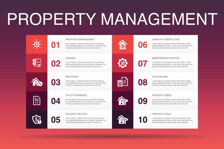 Illustration pour property management Infographic 10 option template.leasing, mortgage, security deposit, accounting icons - image libre de droit