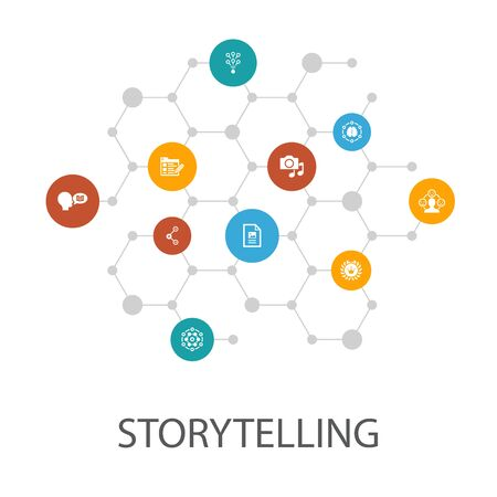Illustration pour storytelling presentation template, cover layout and infographics. content, viral, blog, icons - image libre de droit