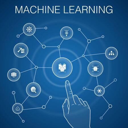 Ilustración de Machine learning concept, blue background with simple icons - Imagen libre de derechos