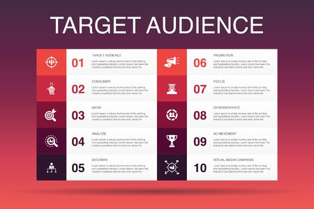 Ilustración de target audience Infographic 10 option template.consumer, demographics, niche, promotion icons - Imagen libre de derechos