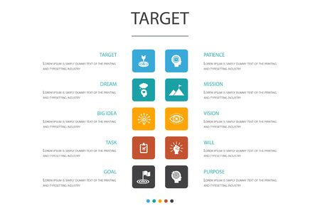 Ilustración de target Infographic 10 option concept.big idea, task, goal, patience icons - Imagen libre de derechos