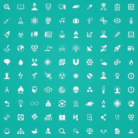 Illustration pour science 100 icons universal set for web and UI - image libre de droit