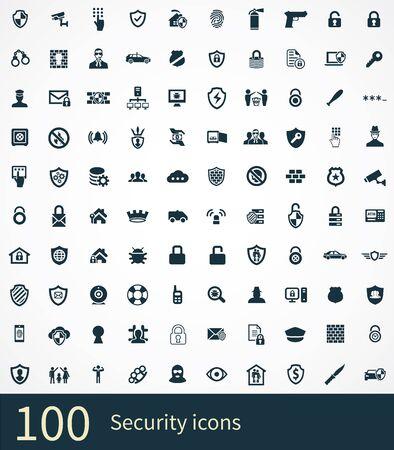 Ilustración de security 100 icons universal set for web and UI - Imagen libre de derechos