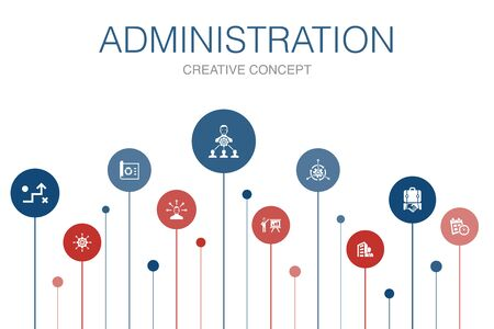 Illustration for administration Infographic 10 steps template. management, schedule, presentation, corporation icons - Royalty Free Image
