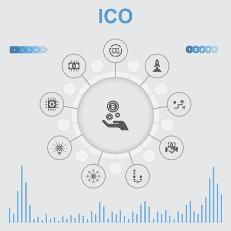Illustration pour ICO infographic with icons. Contains such icons as cryptocurrency, startup, digital economy, technology - image libre de droit