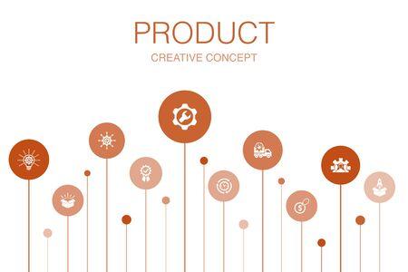 Illustration pour product Infographic 10 steps template.price, quality, delivery, development icons - image libre de droit