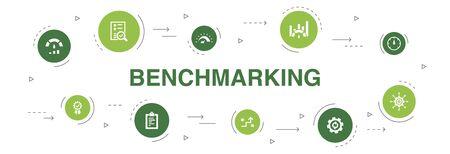 Ilustración de benchmarking Infographic 10 steps circle design. process, management, indicator icons - Imagen libre de derechos