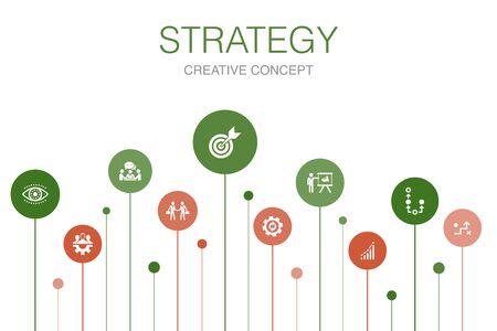 Ilustración de Strategy Infographic 10 steps template.goal, growth, process, teamwork icons - Imagen libre de derechos