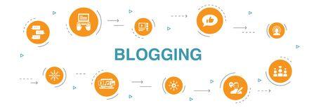 Ilustración de blogging Infographic 10 steps circle design. social media, Comments, Blogger, digital content icons - Imagen libre de derechos