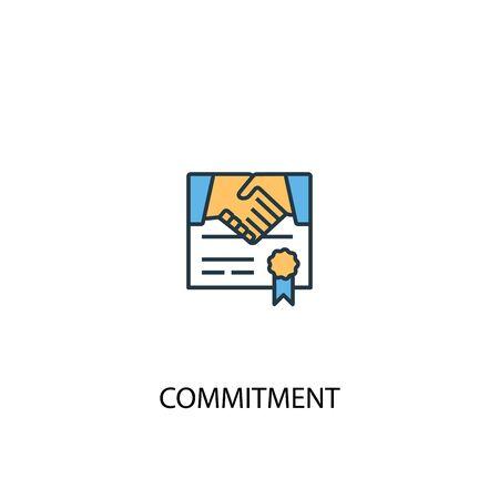 Illustration pour commitment concept 2 colored line icon. Simple yellow and blue element illustration. commitment concept outline symbol design - image libre de droit