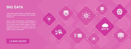 Ilustración de Big data banner 10 icons concept.Database, Artificial intelligence, User behavior, Data center icons - Imagen libre de derechos