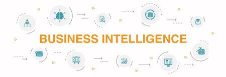 Ilustración de Business intelligence Infographic 10 steps circle design. data mining, knowledge, visualization, decision icons - Imagen libre de derechos