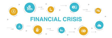 Illustrazione per financial crisis Infographic 10 steps circle design. budget deficit, Bad loans, Government debt, Refinancing icons - Immagini Royalty Free
