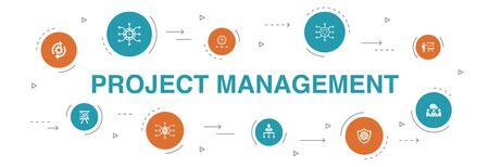 Ilustración de Project management Infographic 10 steps template.Project presentation, Meeting, workflow, Risk management icons - Imagen libre de derechos