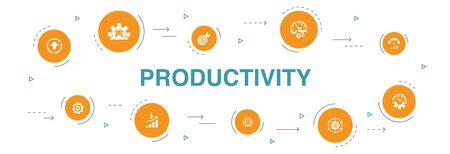 Illustration pour Productivity Infographic 10 steps template.performance, goal, system, process icons - image libre de droit