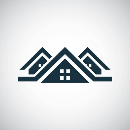 Ilustración de 3 houses icon for web and UI on white background - Imagen libre de derechos