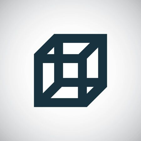 Illustration for cube icon for web and UI on white background - Royalty Free Image