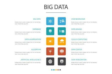 Ilustración de Big data Infographic 10 option concept.Database, Artificial intelligence, User behavior, Data center simple icons - Imagen libre de derechos
