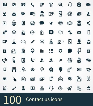 Illustration pour contact us 100 icons universal set for web and UI. - image libre de droit