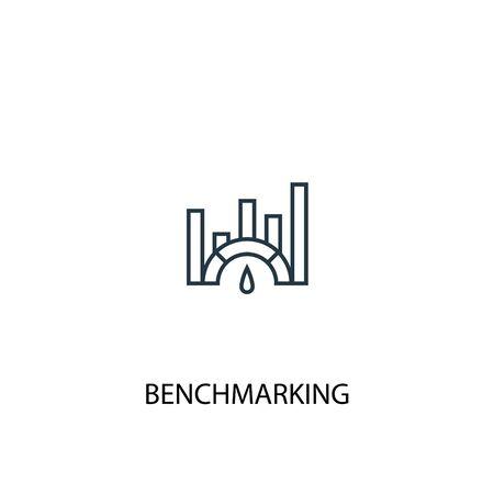 Ilustración de Benchmarking concept line icon. Simple element illustration. Benchmarking concept outline symbol design. Can be used for web and mobile UI - Imagen libre de derechos