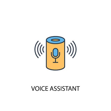 Ilustración de voice assistant concept 2 colored line icon. Simple yellow and blue element illustration. voice assistant concept outline design - Imagen libre de derechos