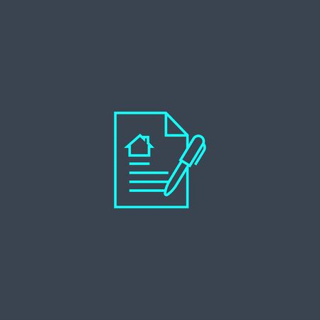 Illustration pour Lease contract concept blue line icon. Simple thin element on dark background. Lease contract concept outline symbol design. Can be used for web and mobile - image libre de droit
