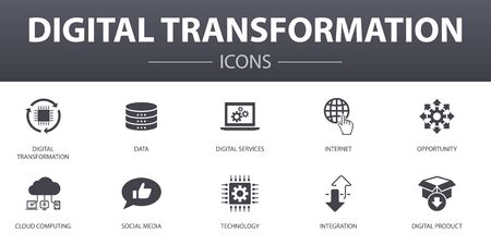 Illustration pour digital transformation simple concept icons set. Contains such icons as digital services, internet, cloud computing, technology and more, can be used for web - image libre de droit