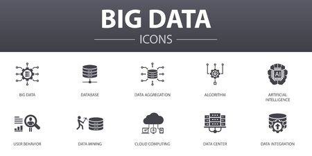 Ilustración de Big data simple concept icons set. Contains such icons as Database, Artificial intelligence, User behavior, Data center and more, can be used for web - Imagen libre de derechos