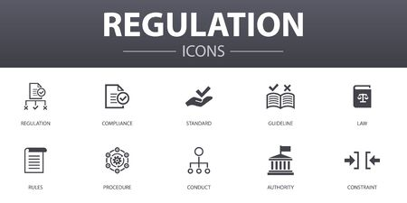 Illustration pour regulation simple concept icons set. Contains such icons as compliance, standard, guideline, rules and more, can be used for web - image libre de droit