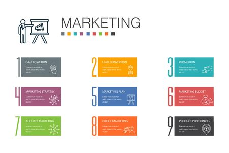 Illustration for marketing Infographic 10 option line concept. call to action, promotion, marketing plan, marketing strategy simple icons - Royalty Free Image