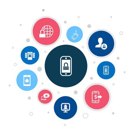 Ilustración de mobile security Infographic 10 steps bubble design.mobile phishing, spyware, internet security, data protection icons - Imagen libre de derechos