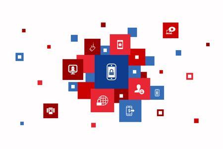 Ilustración de mobile security Infographic 10 steps pixel design. mobile phishing, spyware, internet security, data protection icons - Imagen libre de derechos