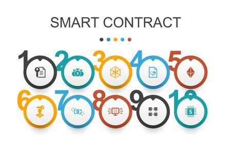 Ilustración de Smart Contract Infographic design template. blockchain, transaction, decentralization, fintech simple icons - Imagen libre de derechos