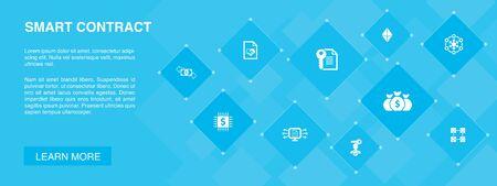 Ilustración de Smart Contract banner 10 icons concept.blockchain, transaction, decentralization, fintech simple icons - Imagen libre de derechos