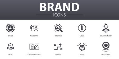 Illustration pour brand simple concept icons set. Contains such icons as marketing, research, brand manager, strategy and more, can be used for web - image libre de droit