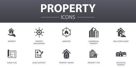 Illustration pour property simple concept icons set. Contains such icons as property type, amenities, lease contract, floor plan and more, can be used for web - image libre de droit