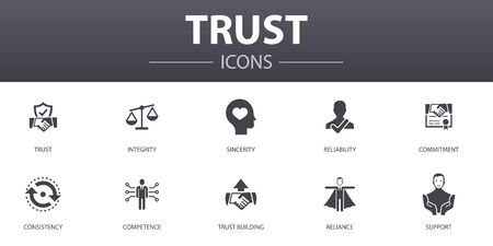 Illustration pour trust simple concept icons set. Contains such icons as integrity, sincerity, commitment, trust building and more, can be used for web - image libre de droit