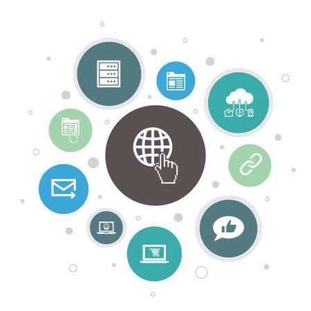 Ilustración de internet Infographic 10 steps pixel design. ecommerce, social media, website, Email simple icons - Imagen libre de derechos