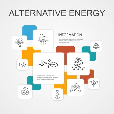 Illustration pour Alternative energy Infographic 10 line icons template.Solar Power, Wind Power, Geothermal Energy, Recycling simple icons - image libre de droit