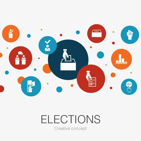 Illustration pour Elections trendy circle template with simple icons. Contains such elements as Ballot box, Candidate - image libre de droit