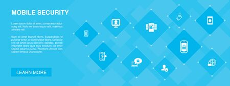 Ilustración de mobile security banner 10 icons concept.mobile phishing, spyware, internet security, data protection simple icons - Imagen libre de derechos