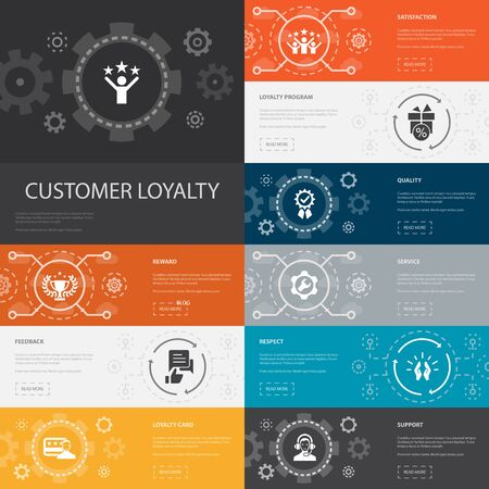 Illustration for Customer Loyalty Infographic 10 line icons banners.reward, feedback, satisfaction, quality simple icons - Royalty Free Image